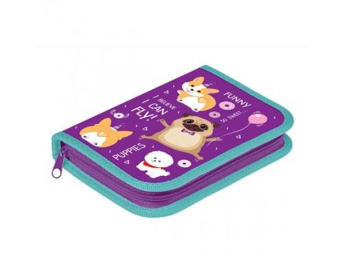 Пенал 1 отделение 190*130 Hatber с откидной планкой Soft-touch -Funny animals для девочки