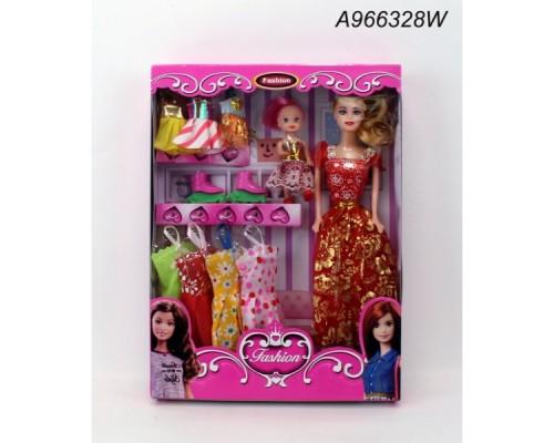 Кукла 29см с дочкой, с набором одежды в кор.A966328W